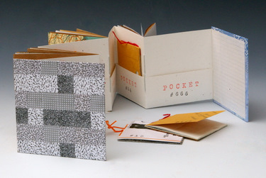 Handmade recycled accordion book by Elissa Campbell