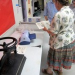 Jill Abilock demonstrating Zyron machine – Book Arts Guild of Vermont Open Bindery – June 2012