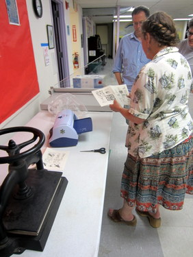 Jill Abilock demonstrating Xyron machine - Book Arts Guild of Vermont Open Bindery - June 2012