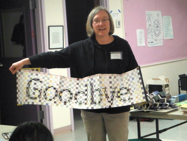 Dorsey Hogg sharing her handmade accordion book