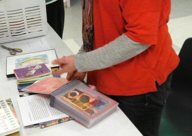 Marcia Vogler sharing her handmade book - Postcard-a-Day