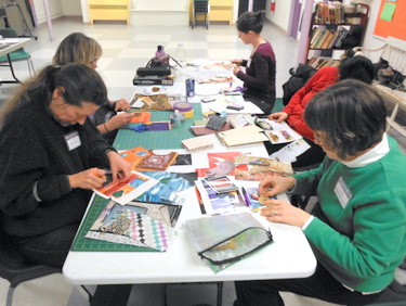 Book Arts Guild of Vermont members creating postcards