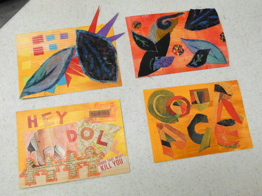 Completed handmade postcards