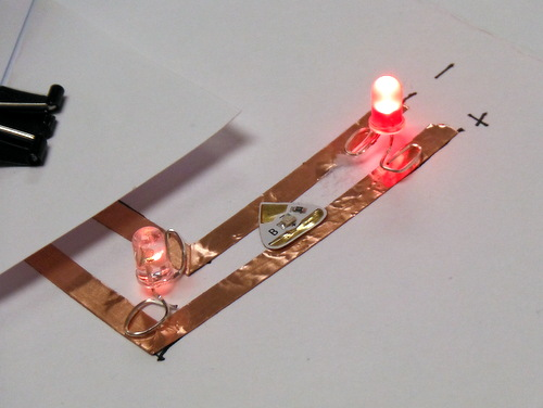 Paper circuitry with LED lights