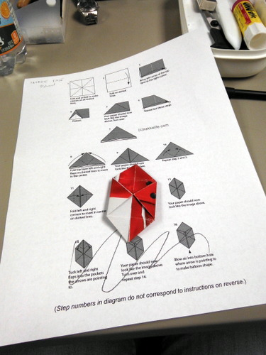 Origami instructions with origami cube