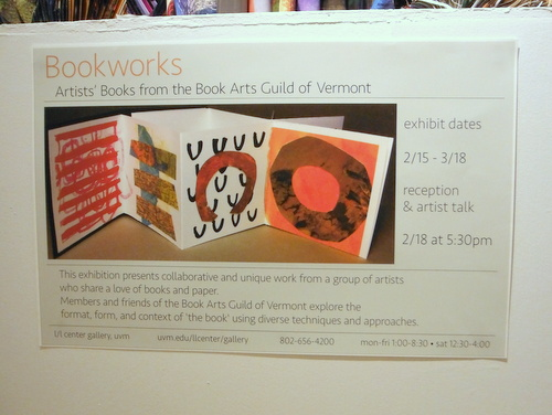 Book Arts Guild of Vermont Exhibit poster