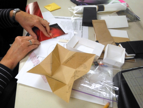 Origami folding in progress