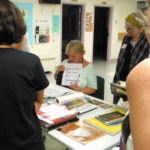 Penne Tompkins teaching calligraphy