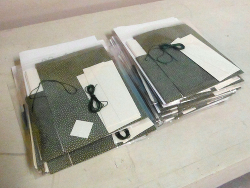 Materials kits for leather bookbinding workshop at Book Arts Guild of Vermont meeting