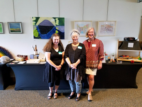 Jill Abilock, Nina Gaby, and Dorsey Hogg at the Book Arts Guild of Vermont display at the Burlington Book Festival