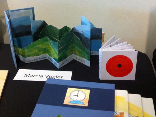 Work by Marcia Vogler on display at the Burlington Book Festival