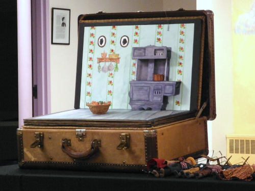 Handmade pop-up book puppet show set by Sarah Frechette