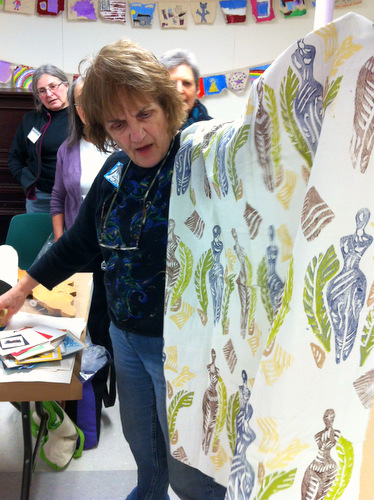Meta Strick sharing work at a Book Arts Guild of Vermont meeting