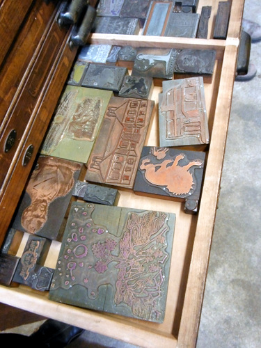 Letterpress blocks at Dartmouth College Book Arts Program