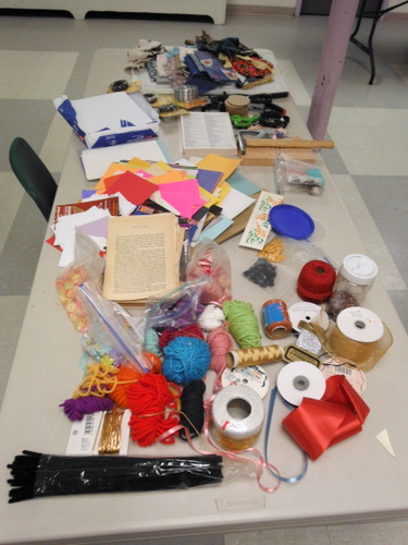 Materials for Junk Box Books at Book Arts Guild of Vermont meeting