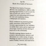 Exhibit sign - Book Arts Guild of Vermont 2018 exhibit at Studio Place Arts