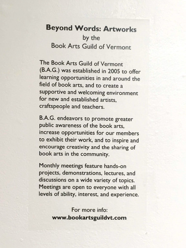 Exhibit sign - Book Arts Guild of Vermont 2018 exhibit at Studio Place Arts