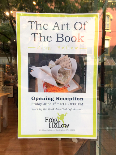 Exhibit Sign for Book Arts Guild of Vermont Exhibit at Frog Hollow Craft Gallery