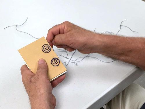 Sewing a coptic stitch book