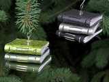 Stacked leather book ornaments by Elissa Campbell