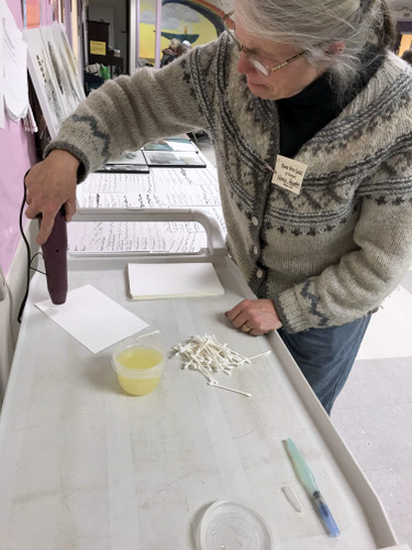 Mark making at Book Arts Guild of Vermont meeting