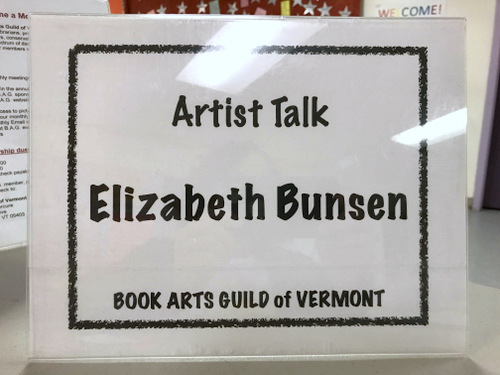 Book Arts Guild of Vermont meeting sign