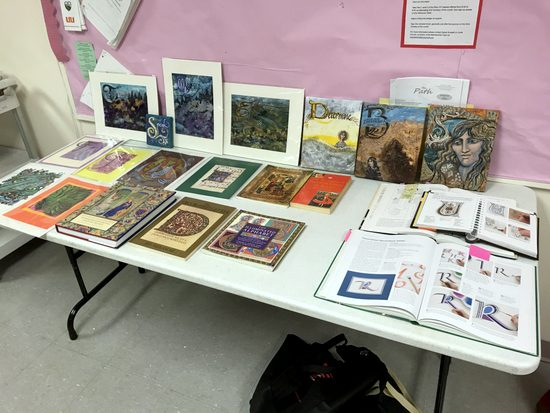 Display of books about decorated capital letters