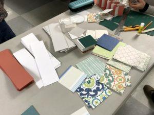 Piles of cut paper